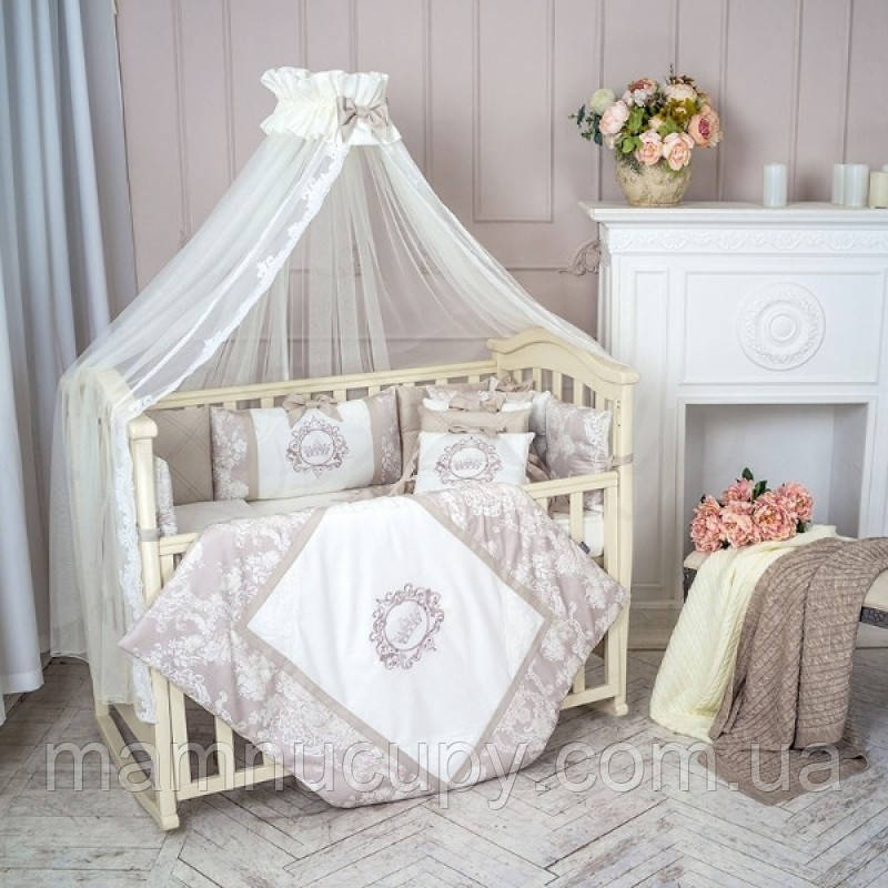 Комплект постельного белья в стандартную кроватку Fiori серый ТМ «Маленькая Соня»