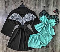 Домашняя одежда, модный комплект халат и пижама.