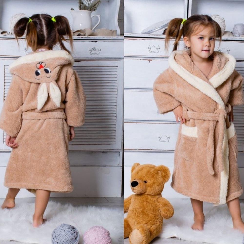 Халат детский махровый теплый на запах с поясом и капюшоном с ушками зайки, уютный, пушистый, на 8,10 лет, фото 1