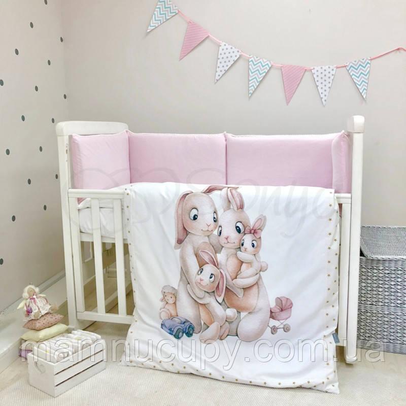 Комплект постельного белья в стандартную кроватку Семейка розовый ТМ «Маленькая Соня»