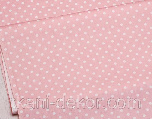 Сатин (хлопковая ткань) горох мелкий на розовом (новый)