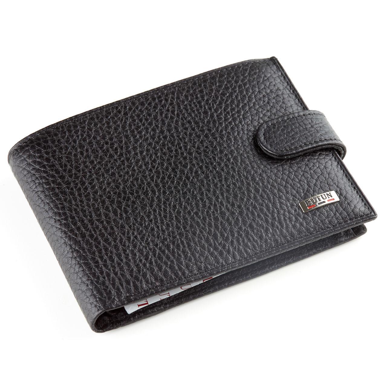 Мужской кошелек Butun 208-004-001 кожаный черный