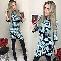 Платье женское ассиметрия Размер: S, M, L, XL Ткань:итальянский трикотаж  Цвет- мята,пудра,красный