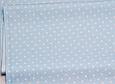Сатин (хлопковая ткань) горох мелкий  на голубом (новый), фото 2