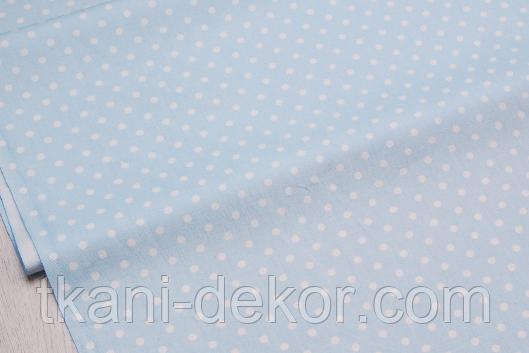 Сатин (хлопковая ткань) горох мелкий  на голубом (новый)