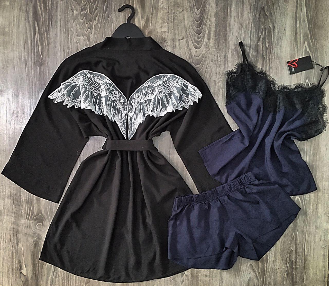Черный халат крылья ангела+пижама, комплект .