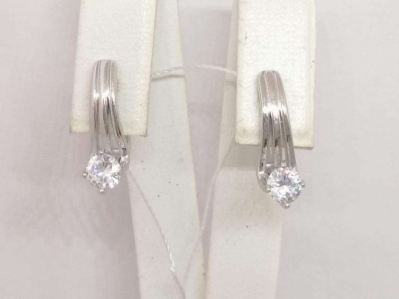 Срібні сережки з фіанітами. Артикул СВ501С