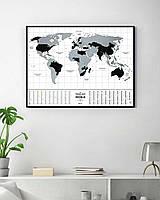 """Скретч карта мира """"Travel Map Flags World"""" (англиский) (тубус)"""