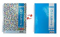 Записная книга DOUBLE А5, на пружине, 96л., клетка, твердый ламинированный переплет, голубой