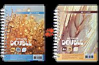 Записная книга DOUBLE А6, на пружине, 96л., клетка, твердый ламинированный переплет, желтый