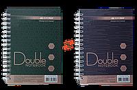 Записная книга DOUBLE А6, на пружине, 96л., клетка, твердый ламинированный переплет, зелено-коричневый