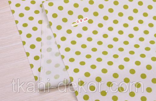 Сатин (хлопковая ткань) горох средний оливковый