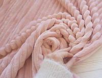 Плед плюшевый микрофибра Полоска Розовый Евро размер 200Х230