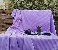 Плед плюшевый микрофибра Полоска Фиолетовый Евро размер 200Х230