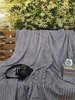 Плед плюшевый микрофибра Полоска Светло серый Евро размер 200Х230, фото 1