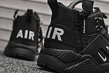 """Зимние кроссовки на меху Nike Air Huarache """"Черные"""", фото 3"""