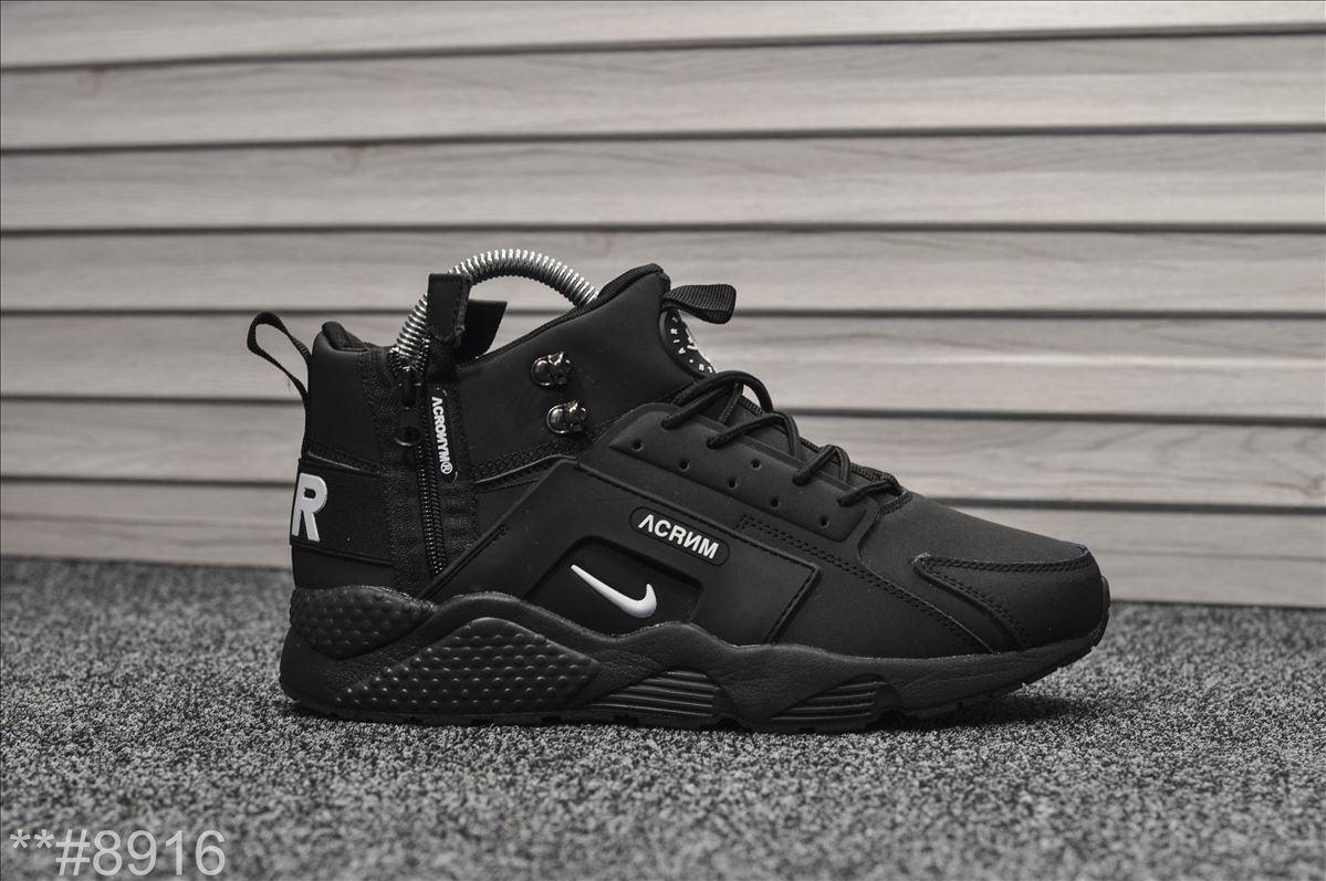 """Зимние кроссовки на меху Nike Air Huarache """"Черные"""""""