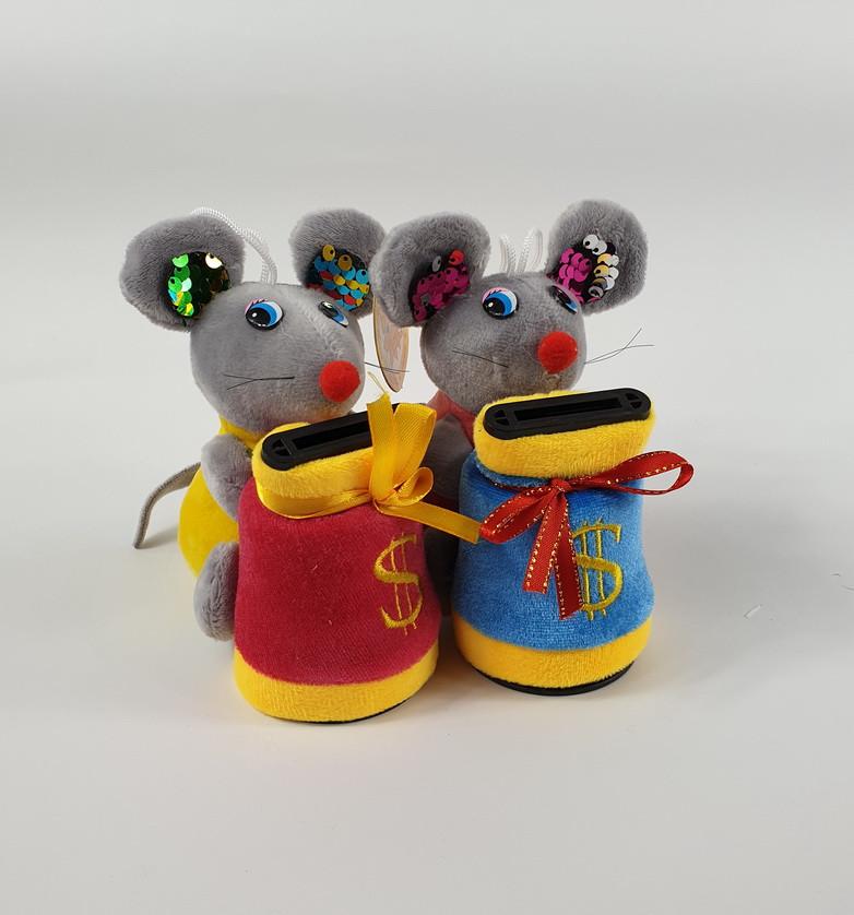 Музыкальная мягкая игрушка копилка Мышка 12 см