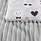 Плед и подушка с усатыми котами серого цвета, фото 4