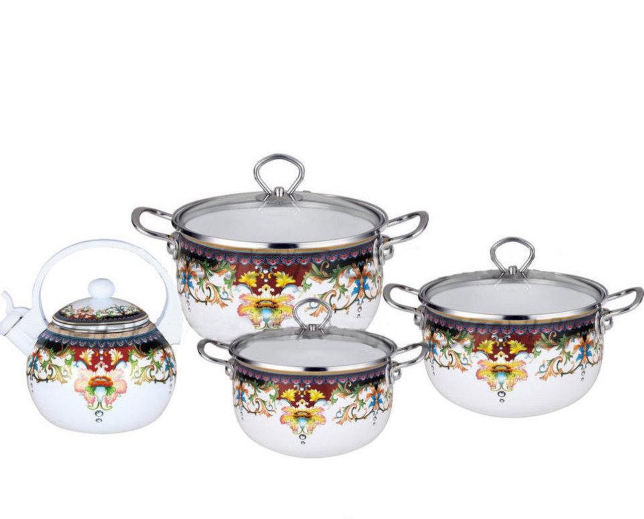 Набор эмалированных кастрюль и чайник Edenberg EB-3372-A