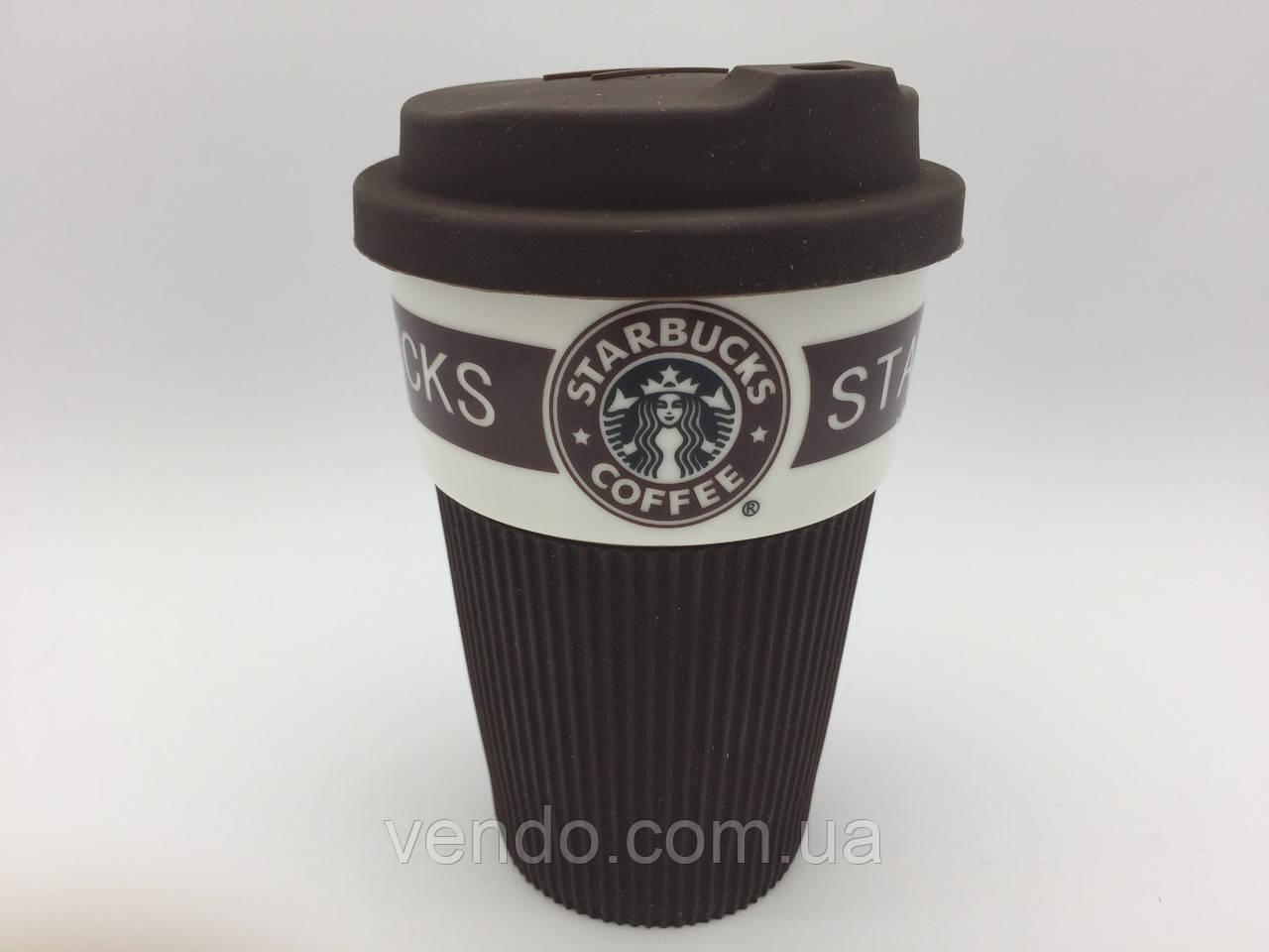 """Стакан с крышкой  """"Starbucks coffi"""" 350мл. (коричневый)"""