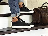Кроссовки зимние Vintage мужские, черно-белые, кожа, мех, код SD-8484