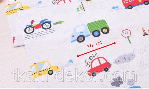 Сатин (бавовняна тканина) машинки та вантажівки (30*160)