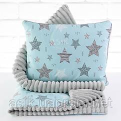 Плед и подушка с геометрическими звёздами бирюзово-серого цвета