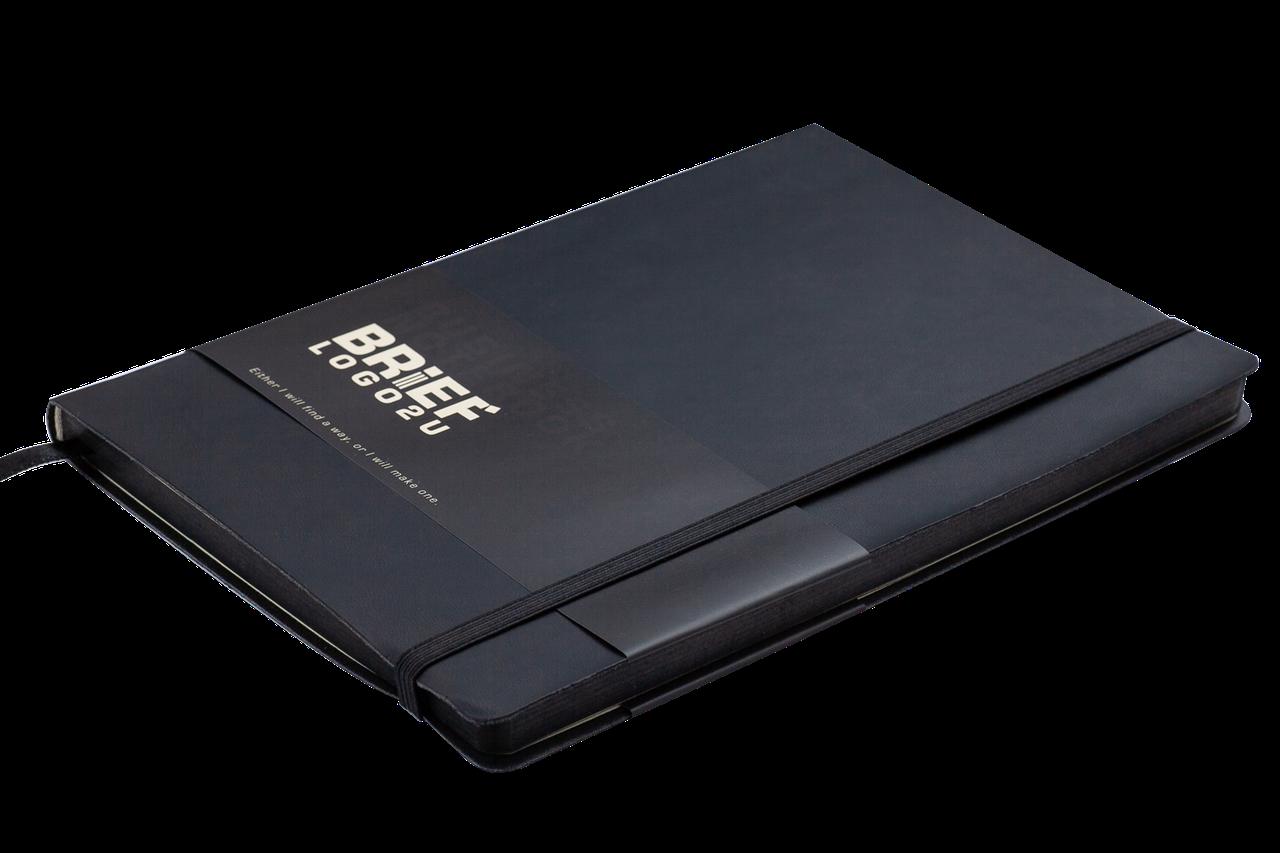 Блокнот деловой BRIEF LOGO2U А5, 96л., клетка, обложка искусственная кожа, черный
