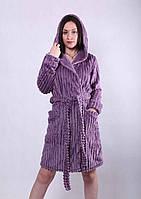 Женский  махровый халат, с капюшоном, длинный рукав, размер  52-54.