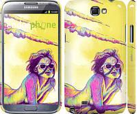 "Чехол на Samsung Galaxy Note 2 N7100 Нарисованная девушка ""2835c-17"""
