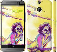 """Чехол на HTC One M8 dual sim Нарисованная девушка """"2835c-55"""""""