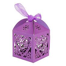 """Бонбоньерка (маленькая коробочка для конфет) """"Ажурное сердце"""" (цвет: сиреневый)"""