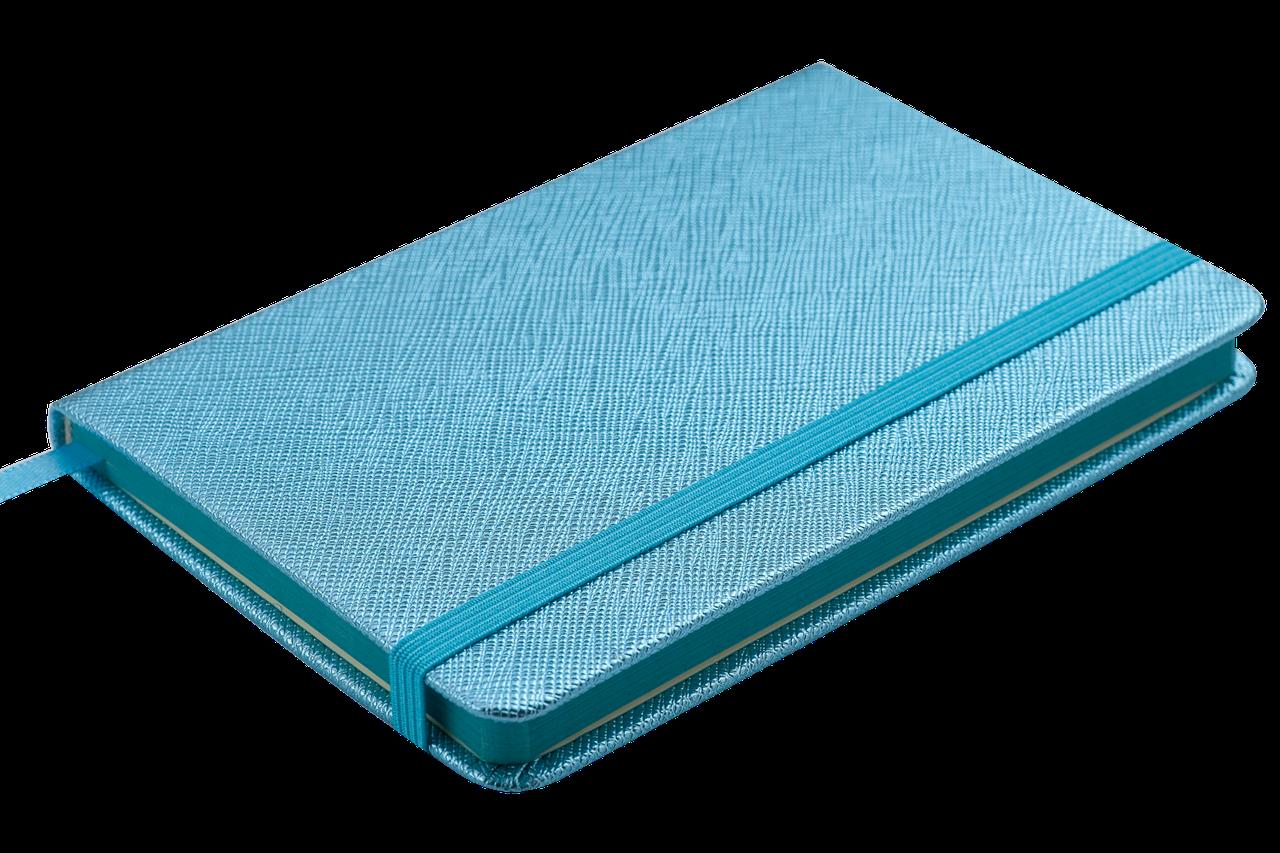 Блокнот деловой INGOT 95x140мм, 80л., клетка, обложка искусственная кожа, голубой