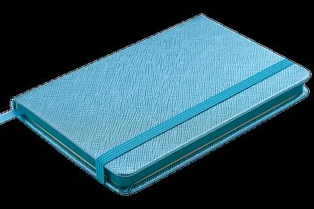 Блокнот деловой INGOT 95x140мм, 80л., клетка, обложка искусственная кожа, голубой, фото 2