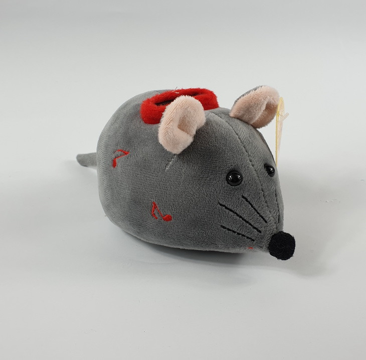 Поющая копилка серая мышка плюшевая 15*10 см