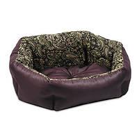 Лежак для собаки Кокос 1 (48х38х18 см), орнамент/бордо , ТМ Природа