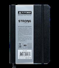 Блокнот деловой STRONG LOGO2U 95x140мм, 80л., клетка, черный, фото 2