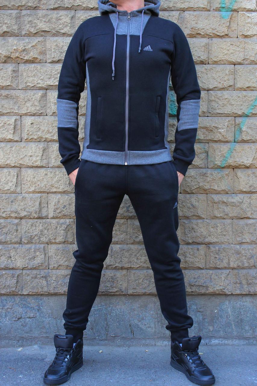 Теплый трикотажный спортивный костюм Adidas на байке с капюшоном (Реплика)