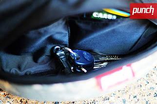 Поясная сумка PUNCH - Black/Cammomile Blue, бананка, сумка на пояс черно-синяя с рисунком, фото 2