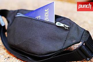 Поясная сумка PUNCH - Black/Cammomile Blue, бананка, сумка на пояс черно-синяя с рисунком, фото 3
