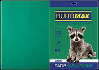 Бумага цветная А4, 80г/м2, DARK тем.-зеленый, 20л.