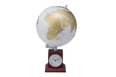 Глобус GOLD silver на деревянной подставке с часами
