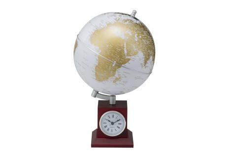 Глобус GOLD silver на деревянной подставке с часами, фото 2