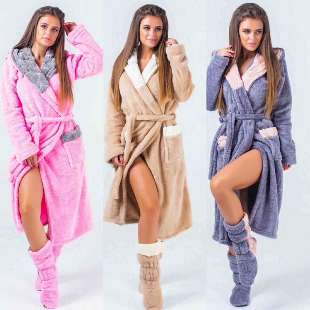 Набор женский халат махровый теплый с отделкой и капюшоном + махровые сапожки в комплекте, уютный, мягкий