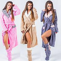 Набор женский халат махровый теплый с отделкой и капюшоном + махровые сапожки в комплекте, уютный, мягкий, фото 1