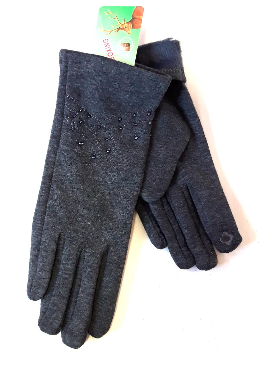 Сенсорные женские перчатки с бисером трикотаж/флис  серые