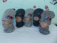 """Комплект шапка и баф на мальчика-подросток""""POWER"""" на флисовой подкладке р-р 50-52, фото 1"""