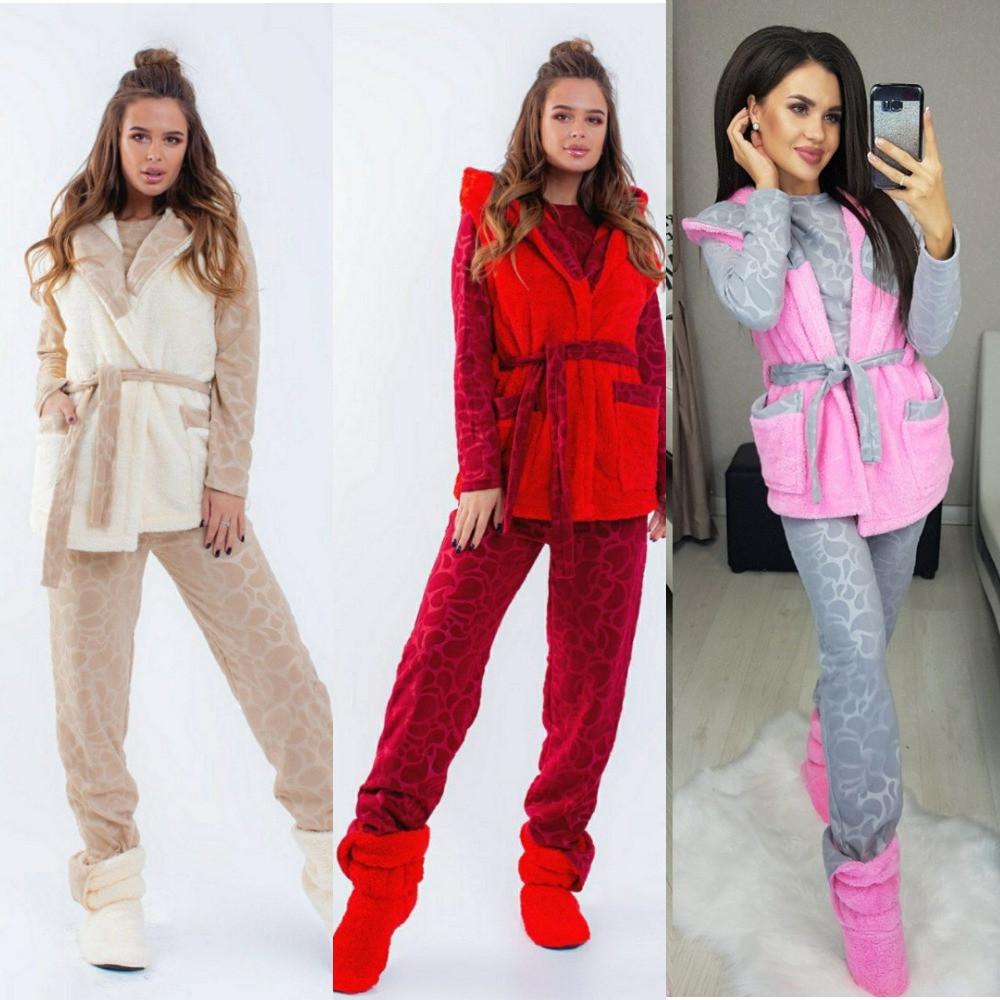 Комплект домашний женский, теплый, пижама + махровый жилет на запах с поясом+сапожки, от 50 до 54 р-ра