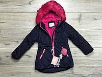 Зимняя куртка на синтепоне, со съемным мехом на капюшоне. Внутри мех-травка. 3- 5 лет.